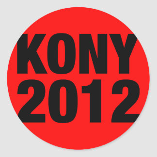 Kony 2012 Black on Red Square Classic Round Sticker