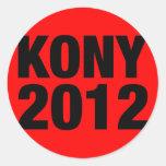 Kony 2012 Black on Red Square Round Sticker