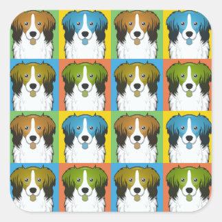 Kooikerhondje Dog Cartoon Pop-Art Square Sticker