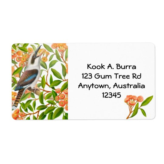 Kookaburra in Gum Tree Label