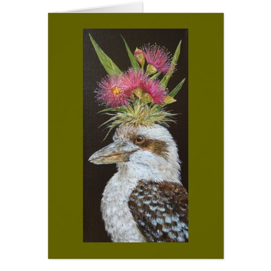 kookaburra with eucalyptus card