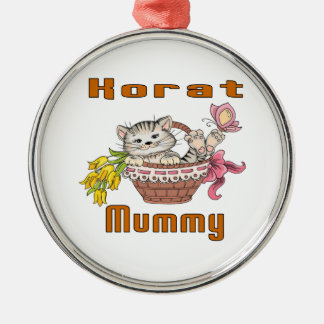 Korat Cat Mom Silver-Colored Round Decoration