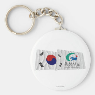 Korea and Chungchongnam-do Waving Flags Basic Round Button Key Ring