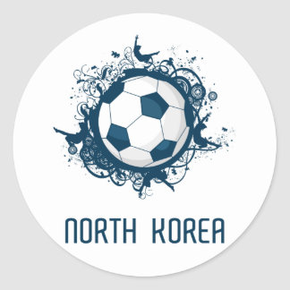Korea DPR Football Round Sticker