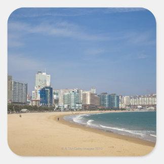 Korea, Gyeongsangnam-do, Busan, Haeundae beach Square Sticker