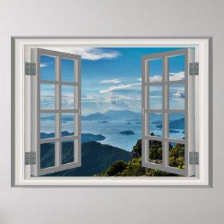 Korea Shoreline Ocean Misty Blue Asian Mountains Poster