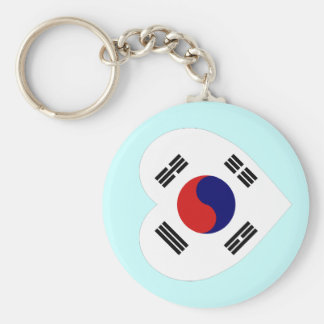 Korea (South) Flag Heart Basic Round Button Key Ring