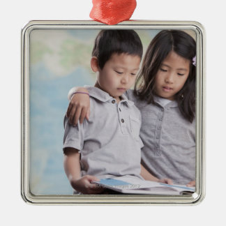 Korean children reading book near map Silver-Colored square decoration