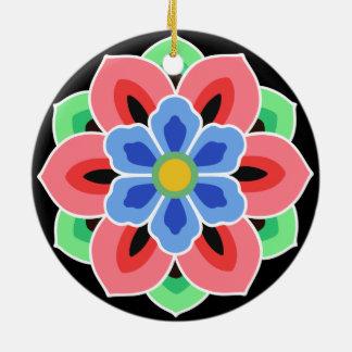 Korean Dancheong Flower Round Ceramic Decoration
