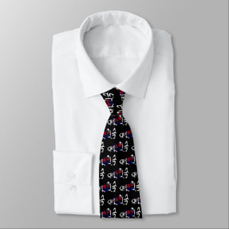 Korean Flag Soccer Calligram Tie