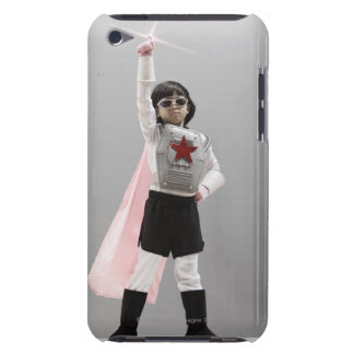 Korean girl in superhero costume with arm raised barely there iPod cases