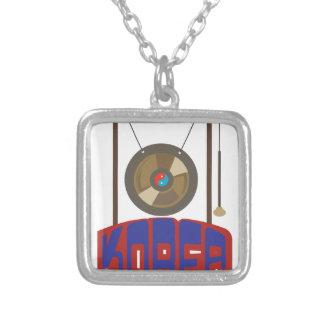 Korean Gong Square Pendant Necklace