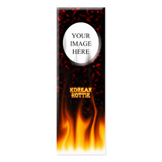 Korean Hottie fire and flames Red marble Double-Sided Mini Business Cards (Pack Of 20)