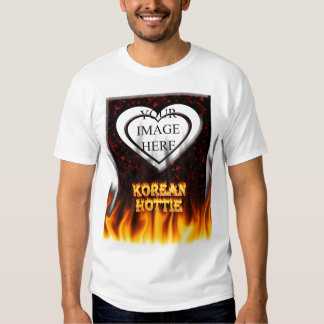 Korean Hottie fire and flames Red marble. Tshirts