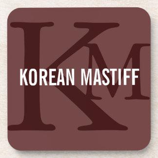 Korean Mastiff Monogram Beverage Coasters