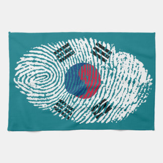 Korean touch fingerprint flag tea towel