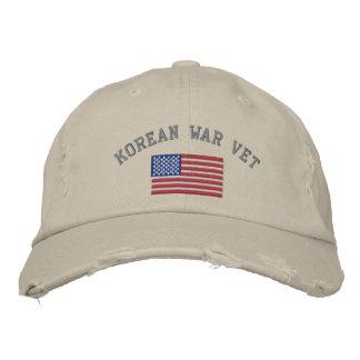 Korean Vet with American Flag Embroidered Baseball Cap