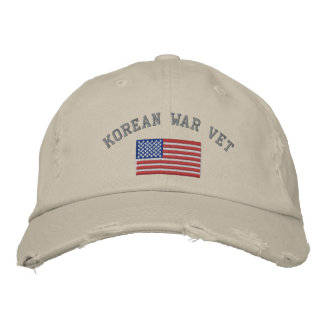 Korean Vet with American Flag Embroidered Hat