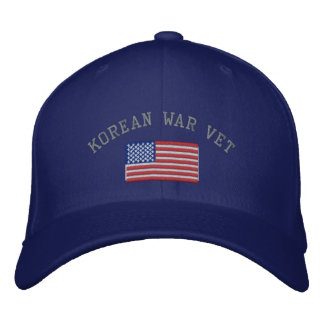 Korean Vet with American Flag Military Embroidered Baseball Caps