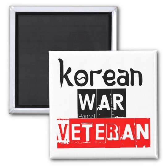 korean war veteran square magnet