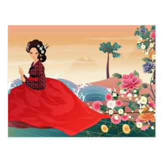 korean woman in a hanbok postcard