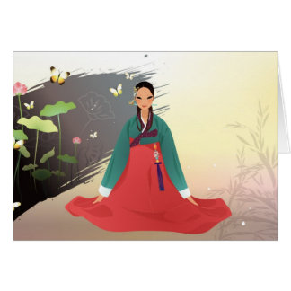 Korean woman wearing a hanbok greeting card