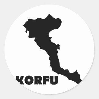 korfu corfu greek island classic round sticker