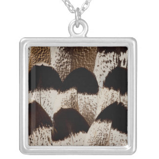 Kori Bustard feather design Silver Plated Necklace