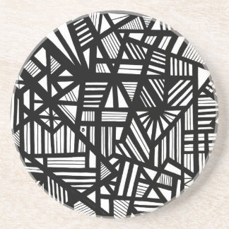 Koria Abstract Expression Black and White Coaster