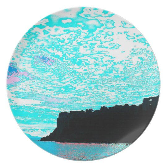 koroni kastro sky turquoise plate
