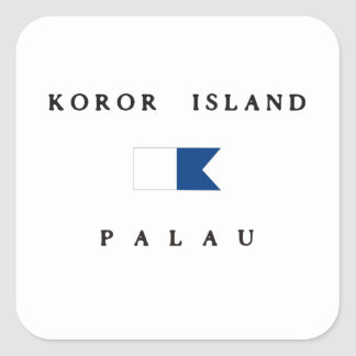 Koror Island Palau Alpha Dive Flag Square Stickers