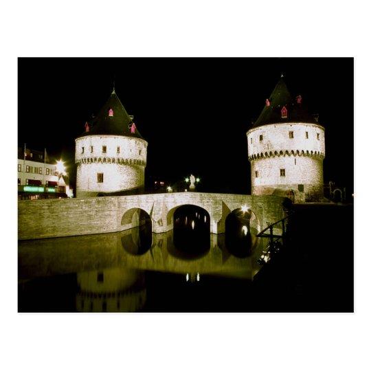 Kortrijk Bridge at night, Belgium Postcard