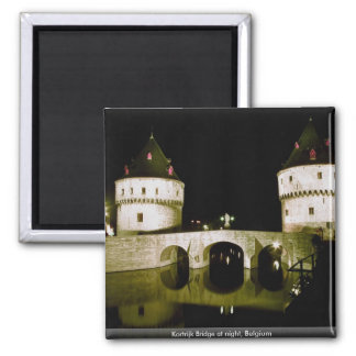 Kortrijk Bridge at night, Belgium Square Magnet