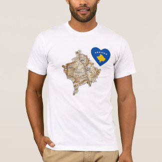 Kosovo Flag Heart and Map T-Shirt