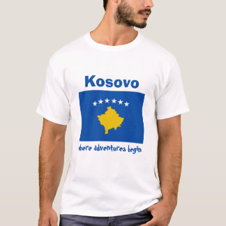 Kosovo Flag + Map + Text T-Shirt