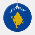 Kosovo Gnarly Flag Christmas Tree Ornaments