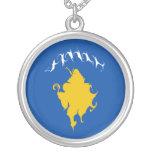 Kosovo Gnarly Flag Round Pendant Necklace