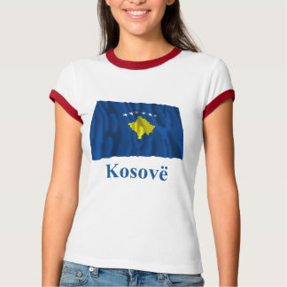 Kosovo Waving Flag with Name in Albanian Tee Shirts