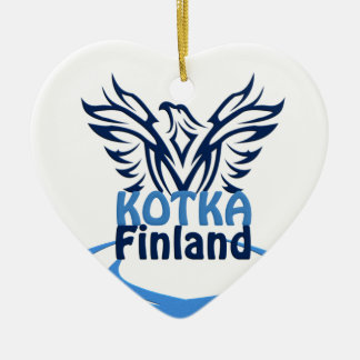 Kotka Finland ornament, customizable Ceramic Heart Decoration