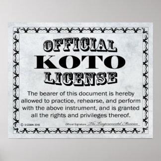 Koto License Poster