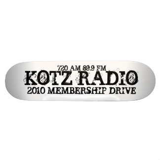 KOTZ RADIO, 2010 MEMBERSHIP DRIVE, 720 AM 89.9 FM 21.6 CM OLD SCHOOL SKATEBOARD DECK