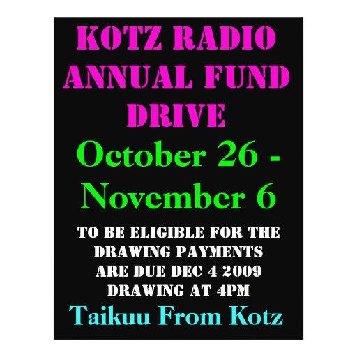KOTZ RADIO ANNUAL FUND DRIVE, 2009 , October 26... Flyer