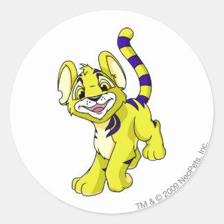 Kougra Yellow Round Sticker