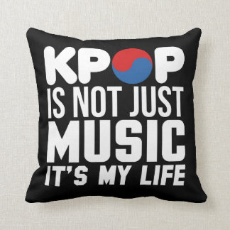 Kpop Is My Life Slogan Graphics (dark) Cushion