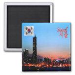 KR - South Korea - Seoul By Night Square Magnet