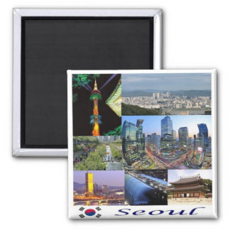 KR - South Korea - Seoul - Mosaic - Collage Square Magnet