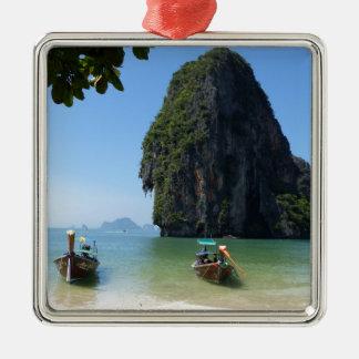 Krabi beach, Thailand. Silver-Colored Square Decoration
