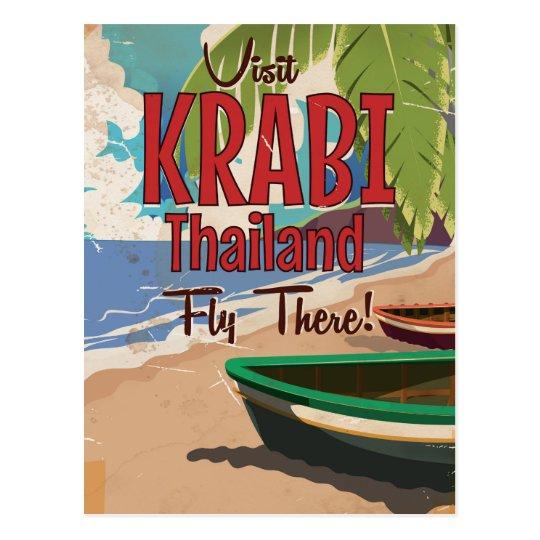 Krabi Beach Thailand vintage travel poster Postcard