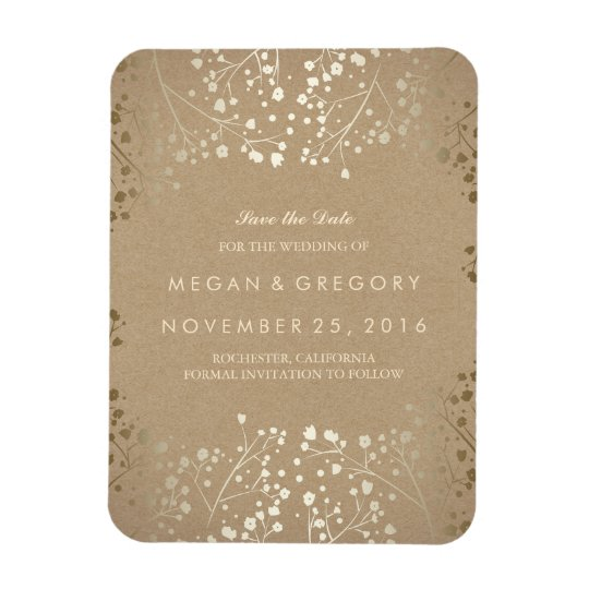 Kraft and gold Baby's Breath Save the Date