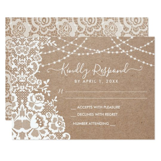 Kraft and Lace Rustic Wedding RSVP Response Card